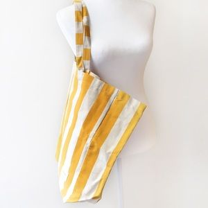 Sezane white and yellow striped large tote bag